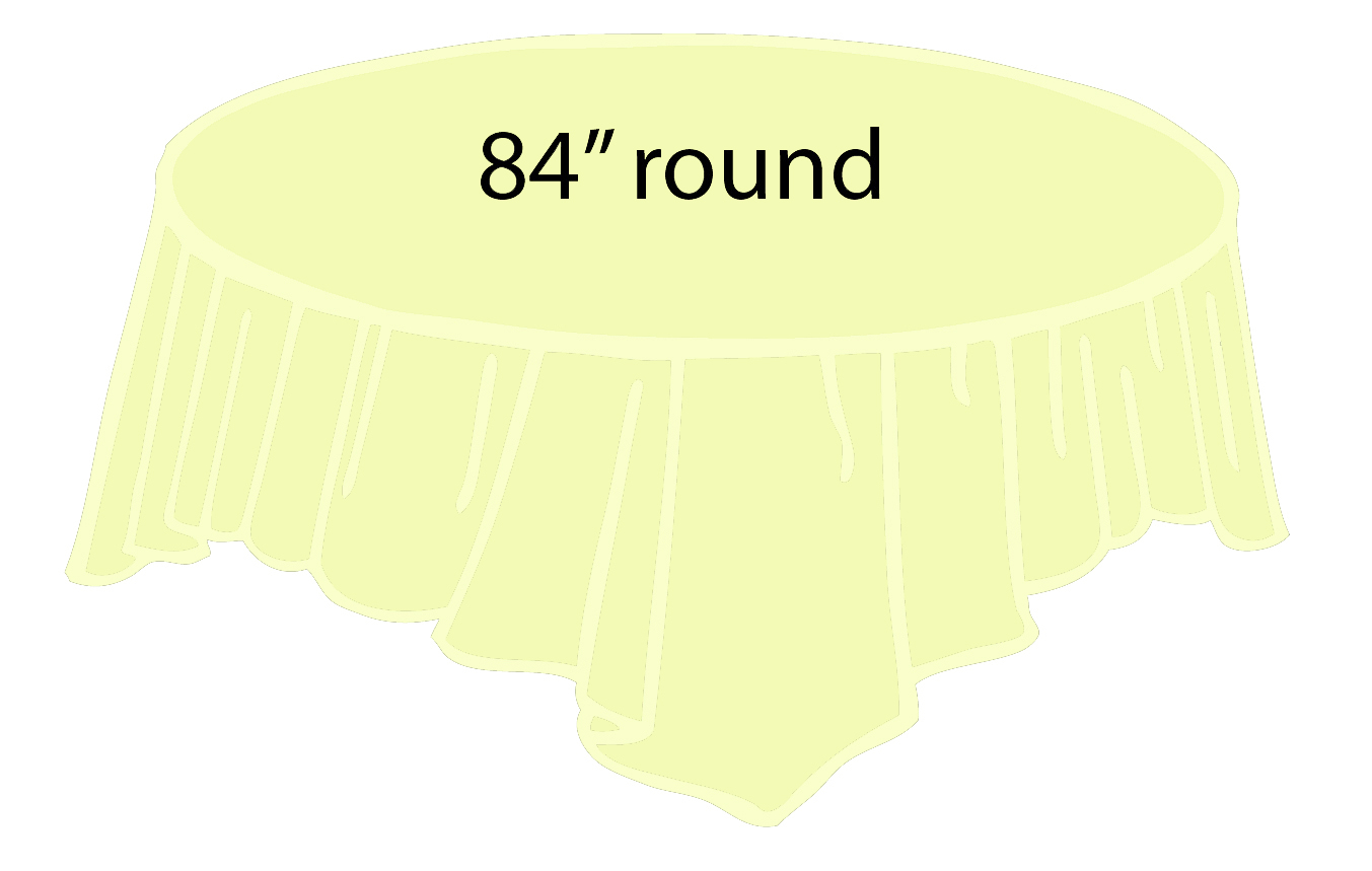 96 inch round tablecloth - 84 Plastic Round Tablecover Ivory