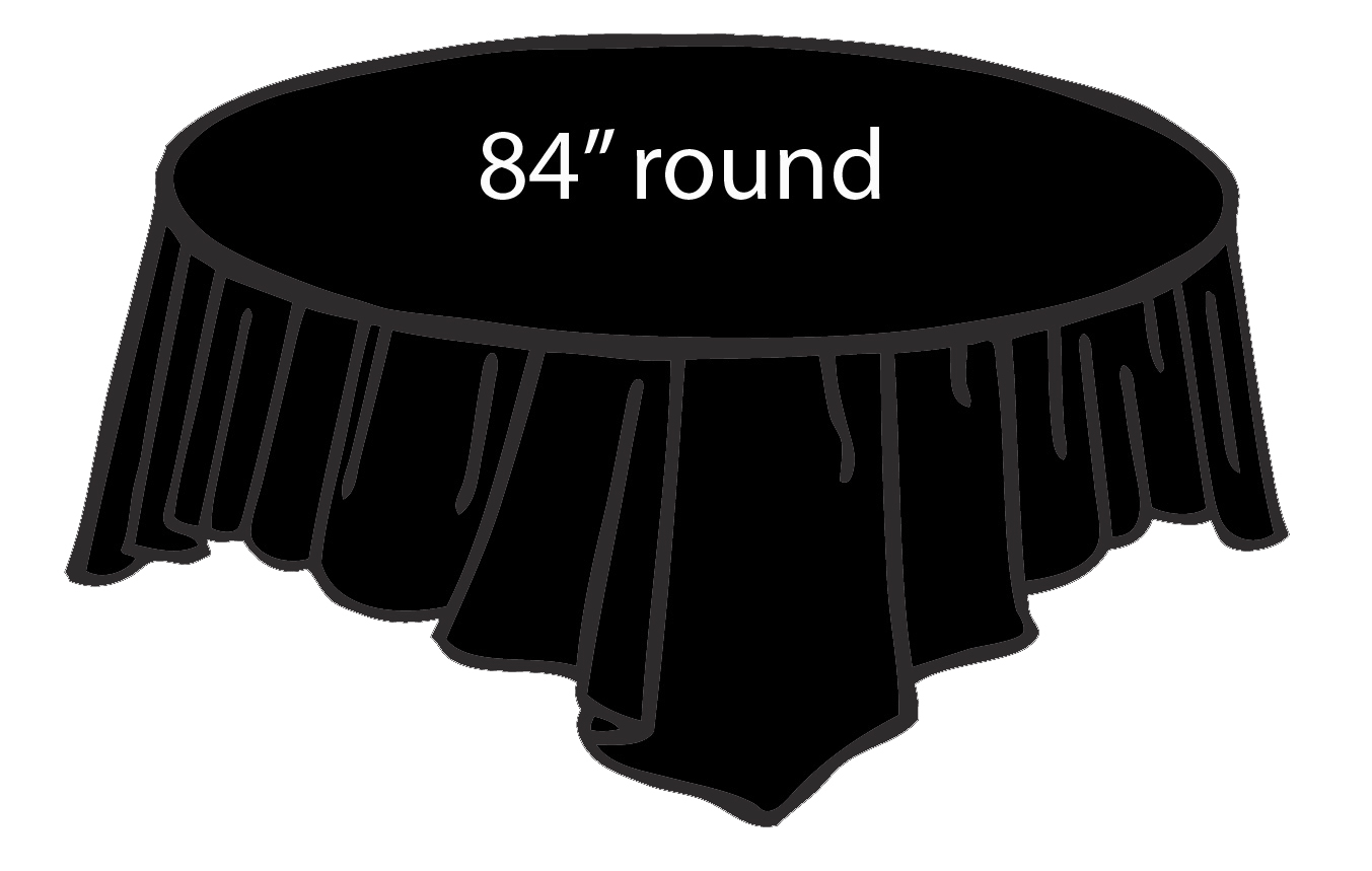 Black 84 Inch Round Tablecloths Tablecovers Plastic
