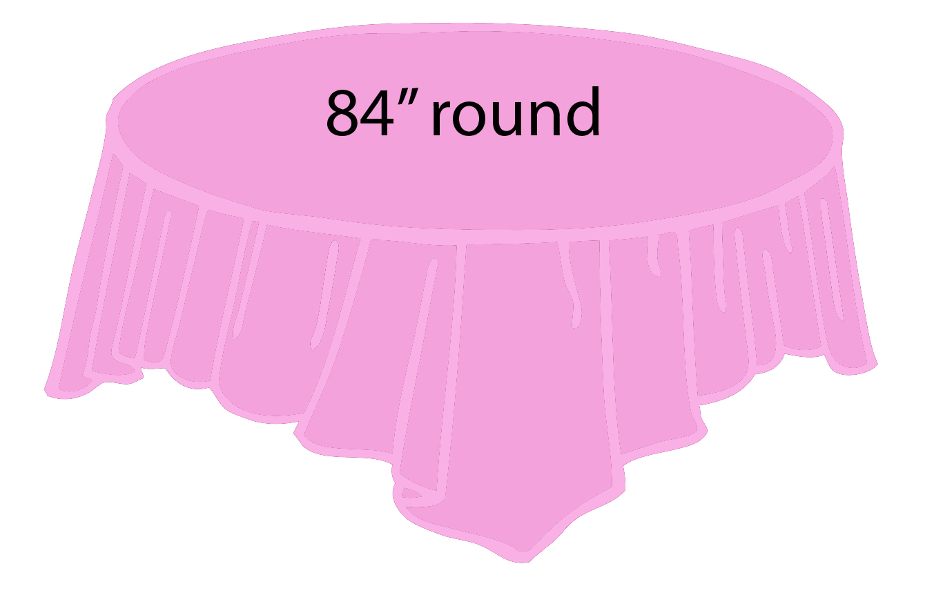 Pink Light Pink 84 Inch Round Tablecloths Tablecovers
