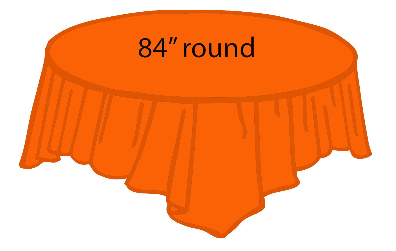 orange 84 inch round tablecloths tablecovers plastic wholesale