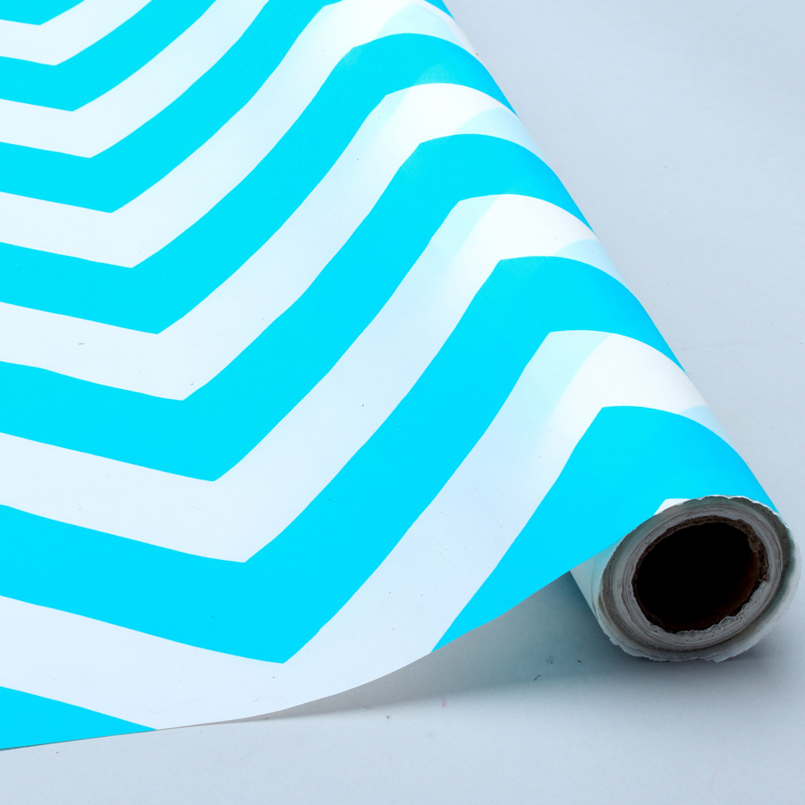 Turquoise And White Chevron Plastic Table And Banquet Roll