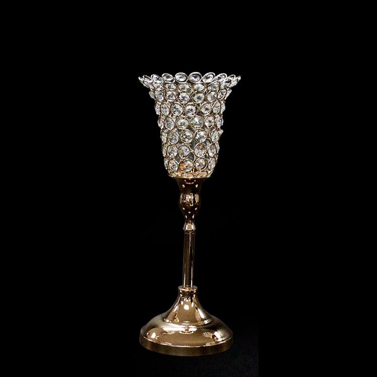 Crystal tulip candle holder 13 inch gold