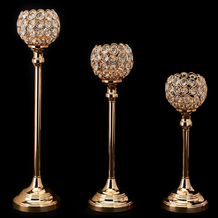Crystal Ball Candle Holder Set (3) GOLD