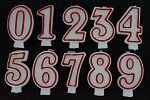 Premium number candles 3 inch  red/white
