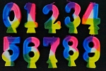 Rainbow number candles 3 inch