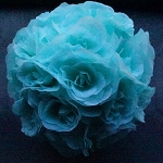 Silk kissing pomander flower ball  AQUA