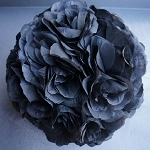 "Silk kissing pomander flower ball 10"" BLACK"