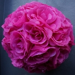 Silk kissing pomander flower ball  FUCHSIA