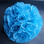 Silk kissing pomander flower ball  TURQUOISE