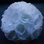 Silk kissing pomander flower ball  WHITE