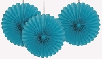 6 inch tissue paper fan TEAL 3 pieces UI63253