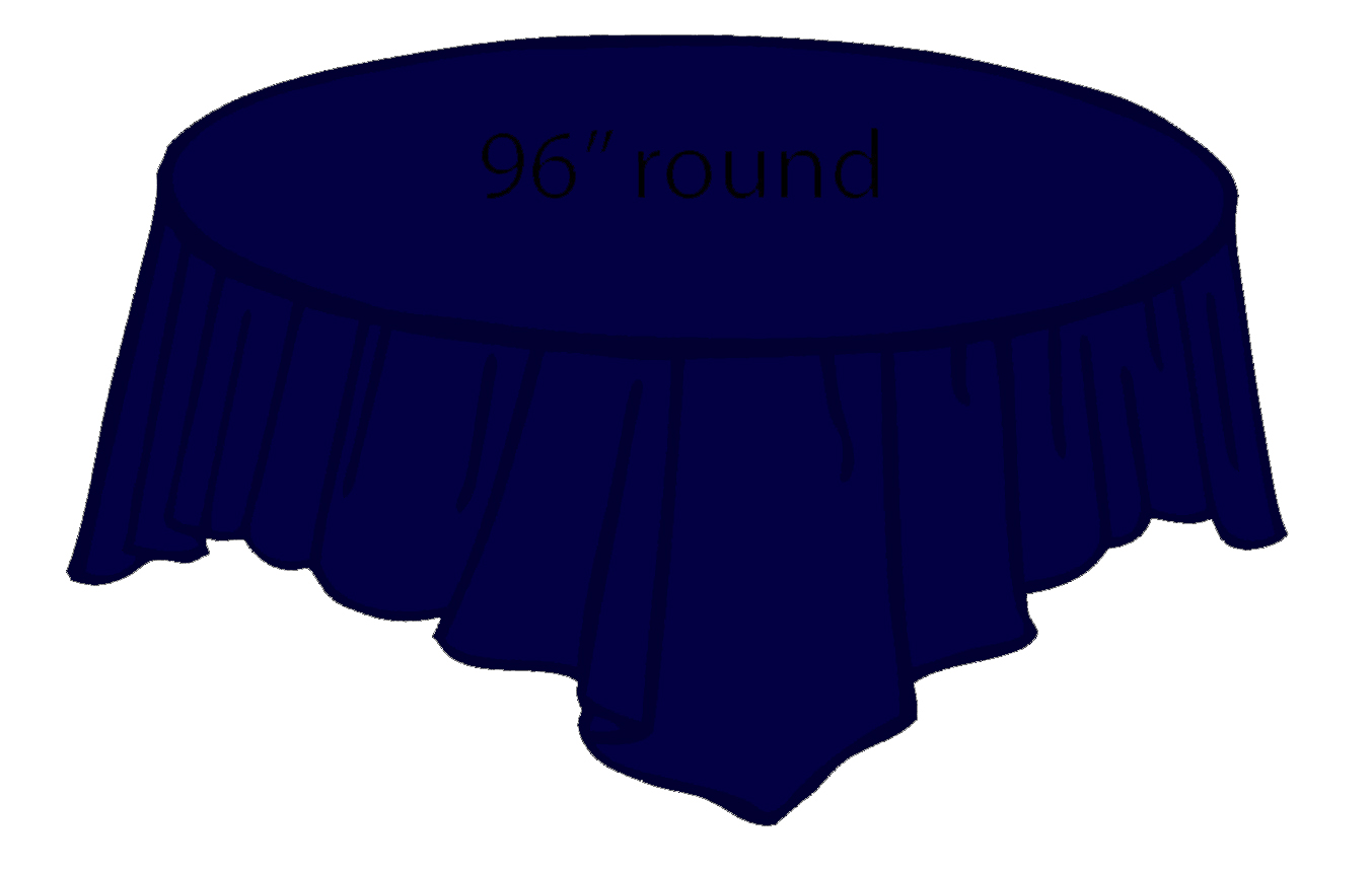 96 inch round tablecloth - 84 Plastic Round Tablecover Navy