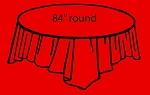 "84"" plastic round tablecover RED"