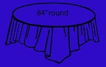 "84"" plastic round tablecover ROYAL BLUE"