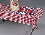 Gingham RED/WHITE tablecover paper w/ plastic lining 54