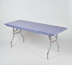 BLUE/WHITE gingham elastic tablecover-cloth for 6 foot table 30