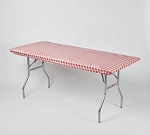 RED/WHITE gingham elastic table cover 6 foot table 30