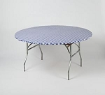 BLUE/WHITE gingham elastic tablecover-cloth for 60 inch round table    KC60PK-BW kwik cover