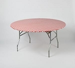 RED/WHITE gingham elastic table cover 5 foot round table 60