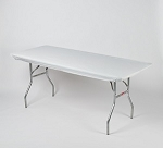 White elastic tablecover-cloth for 6 foot table 30