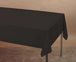 BLACK Plastic lined paper rectangle tablecloth 54
