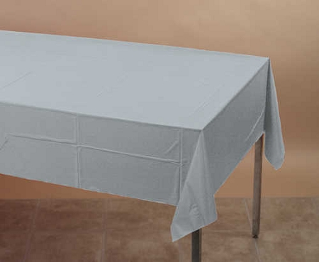 Silver gray plastic lined paper rectangle tablecloth cover 54 quot x108