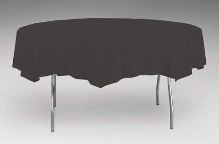 Black paper plastic lined round tablecloth cover 82 quot 923260