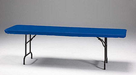 stay put plastic fitted table covers in red, royal blue, white and