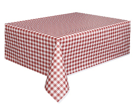 Red Gingham Plastic Table And Banquet Roll 54 Inches By