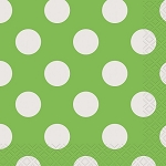 Polka dot beverage napkins  16 pcs.  LIME GREEN/WHITE 30422