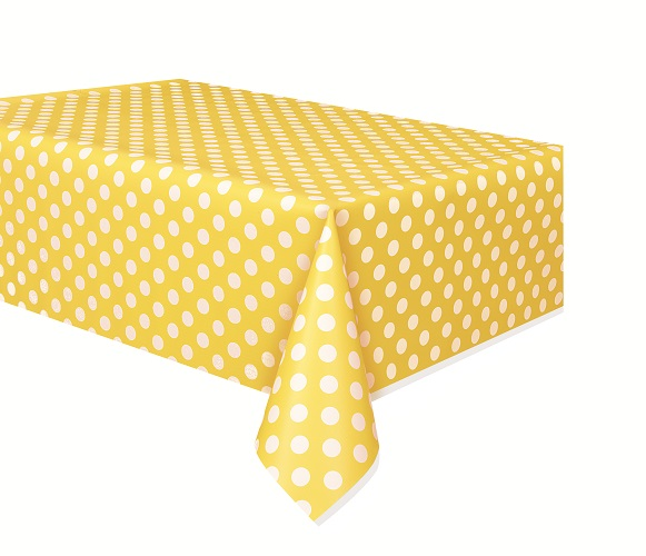 Yellow And White Polka Dot Plastic Polka Dot Print Table