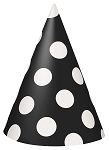 Polka dot party hats BLACK/WHITE 8 pcs 60390