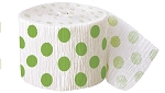 Polka dot paper crepe streamers LIME GREEN/WHITE 1 pc  63121