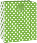 Polka dot paper gift bags LIME GREEN/WHITE 1 pc  64421