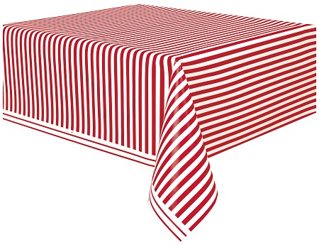 Marvelous Striped Tablecloth RED/WHITE Plastic 54x108 UI50300