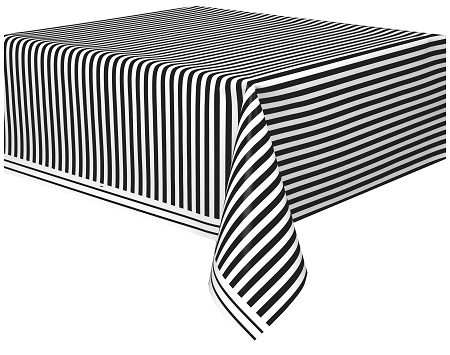 Plastic Black With White Stripe Print 54 X 108 Banquet