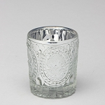 Decorative Mercury Metallic Glass Candle Holder SILVER 3.25 inch (6 count)
