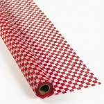 Checker red and white plastic table covers