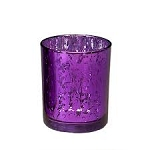 4 INCH Mercury glass votive Candle Holder PURPLE (6 count)
