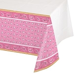 Pink Bandana Cowgirl tablecloth 54inx102in