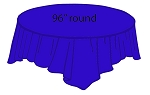 "96"" round plastic tablecloth ROYAL BLUE"