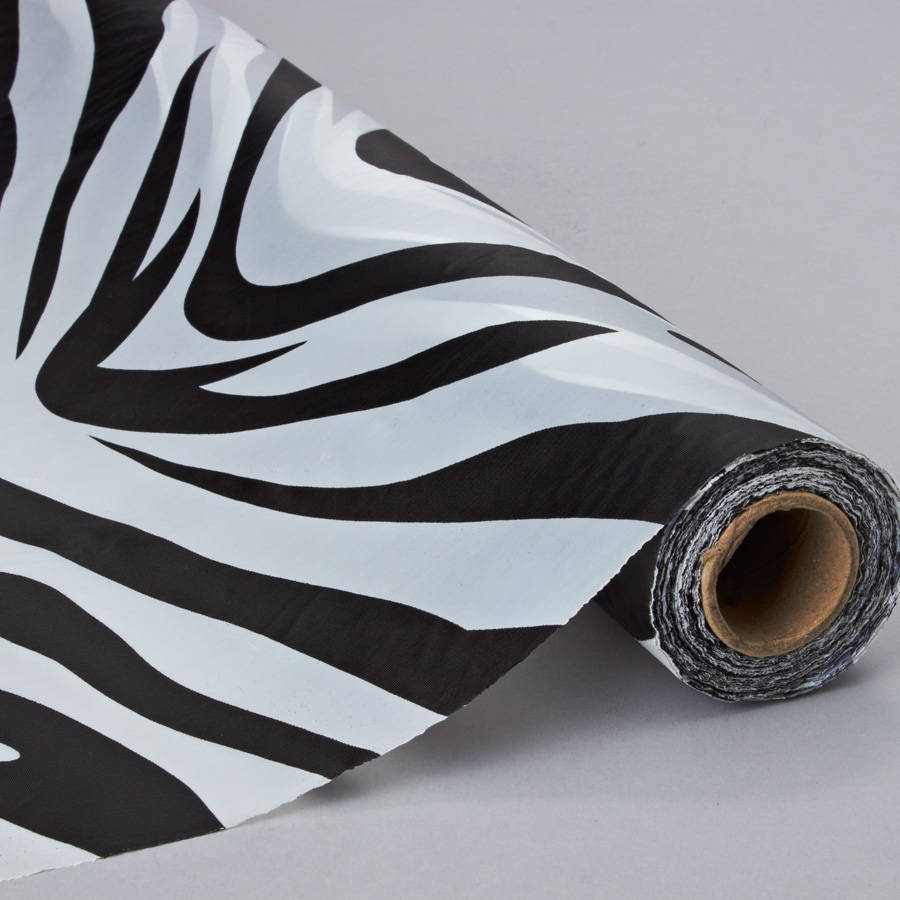 Black And White Zebra Plastic Table And Banquet Roll 40