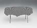 "82"" round check tablecloth BLACK/WHITE 41197"