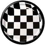 "56197 checked paper BLACK/WHITE 7"" luncheon plates (25 pieces)"
