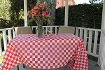 "#54108RW  Red/white check plastic 54""x108"" tablecloth"