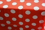 Polka dot tablecloth RED/WHITE plastic