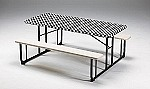 "BLACK/WHITE  check Stayput tablecover for 6' table 29""X72"" 37497"