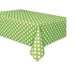 Polka dot tablecloth LIME GREEN/WHITE plastic 54x108 UI50261
