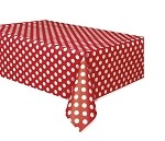 Polka dot tablecloth RED/WHITE plastic 54x108 UI50262