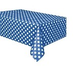 Polka dot tablecloth ROYAL/WHITE plastic 54x108 UI50264